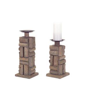 2 Piece Wood/Metal Candlestick Set