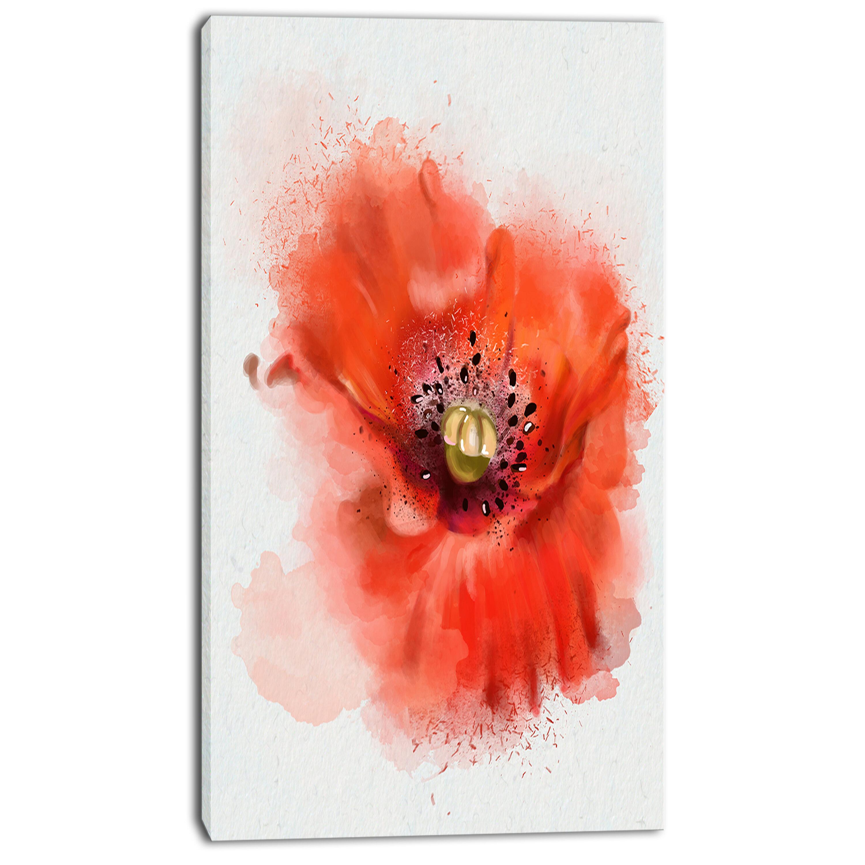 Designart Stylish Red Watercolor Poppy Flower Painting Print On