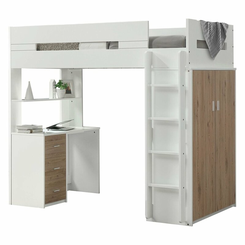Merveilleux Adne Wooden Twin Loft Bed With Drawers And Desk Shelf And Wardrobe