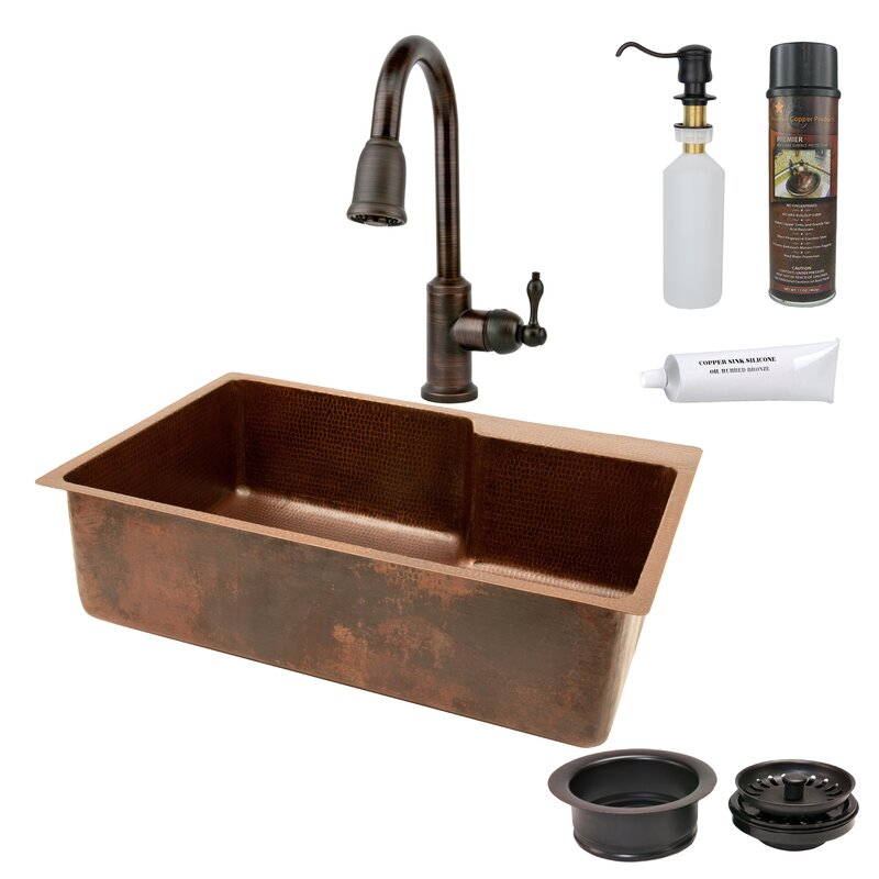 """33"""" x 22"""" Hammered Single Basin Kitchen Sink with Faucet with ORB Pull Down Faucet, Drain and Accessories"""