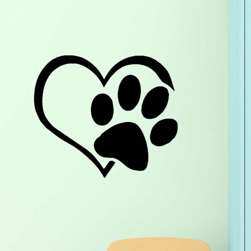 3a8ca970b DecaltheWalls Heart with Paws Pet Vinyl Wall Decal