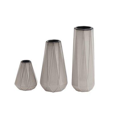 CosmoLiving by Cosmopolitan 3 Piece Table Vase Set Color: Gray