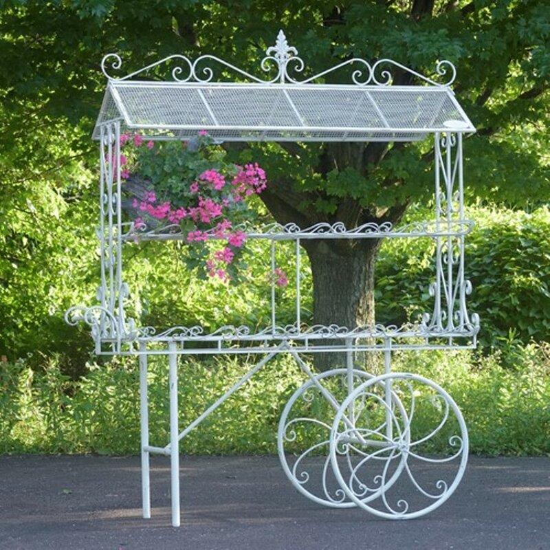 Zaerltdinternational Flower Cart Metal Wheelbarrow Planter