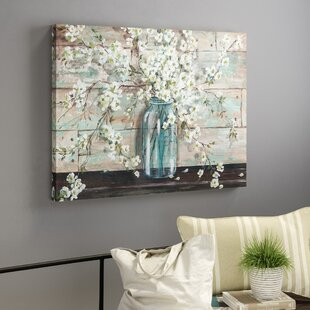 Blossoms In Mason Jar Painting Print On Wrapped Canvas