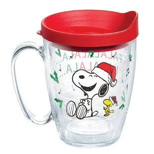 peanuts christmas snoopy santa 16 oz plastic travel tumbler - Christmas Snoopy