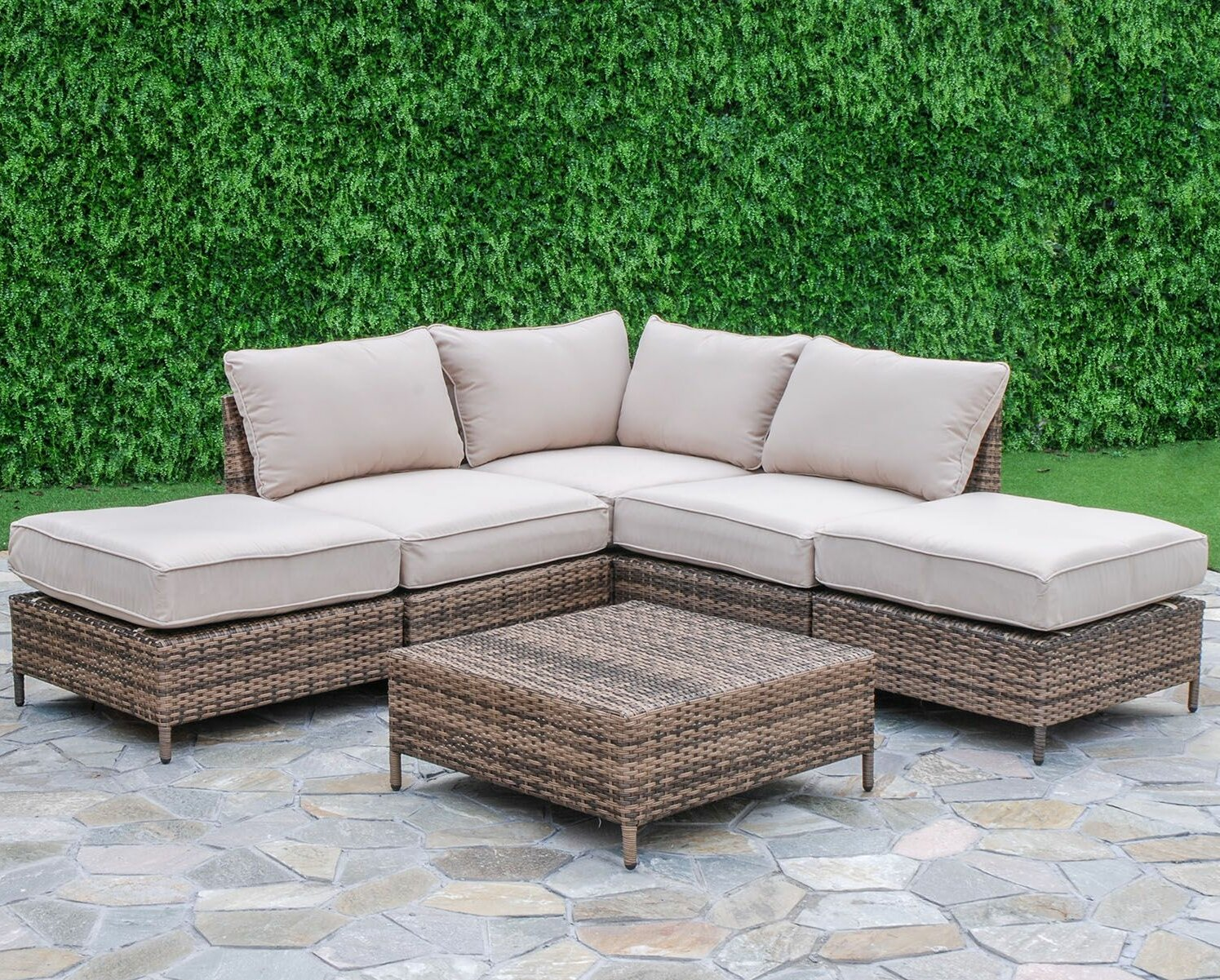 Beachcrest Home Sophie 6 Piece Sectional Seating Group with Cushions ...
