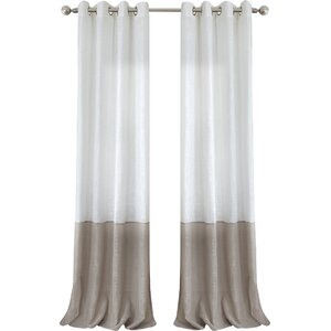 Saltzman Striped Semi-Sheer Grommet Single Curtain Panel
