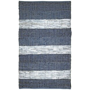 Sandford Flatweave Cotton Leather Blue White Area Rug