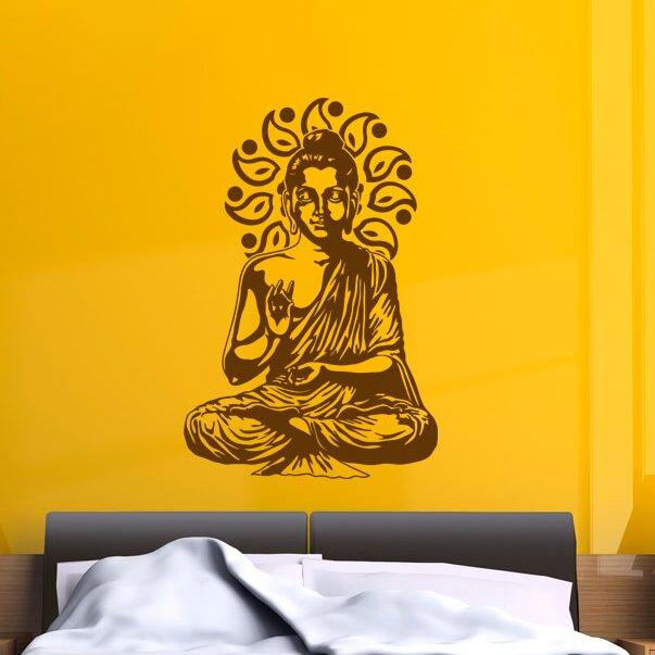 Elephant Buddha Wall Stickers Buddha Room Sofa Dining Room Religion Bedroom Decals Wall Decor Wallpaper Quality First Home & Garden Home Decor