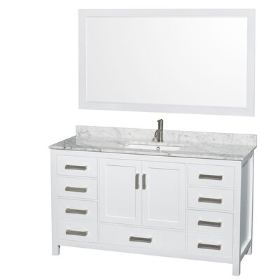 Sheffield 60 Single White Bathroom Vanity Set With Mirror