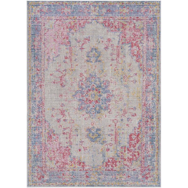 Bungalow Rose Kahina Vintage Distressed Oriental Pink Blue