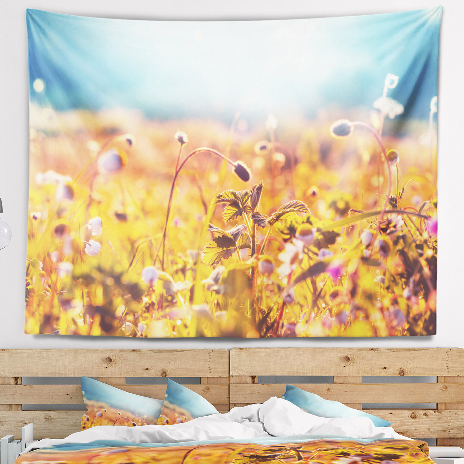 East Urban Home Floral Summer Field with Beautiful Flowers Tapestry ...