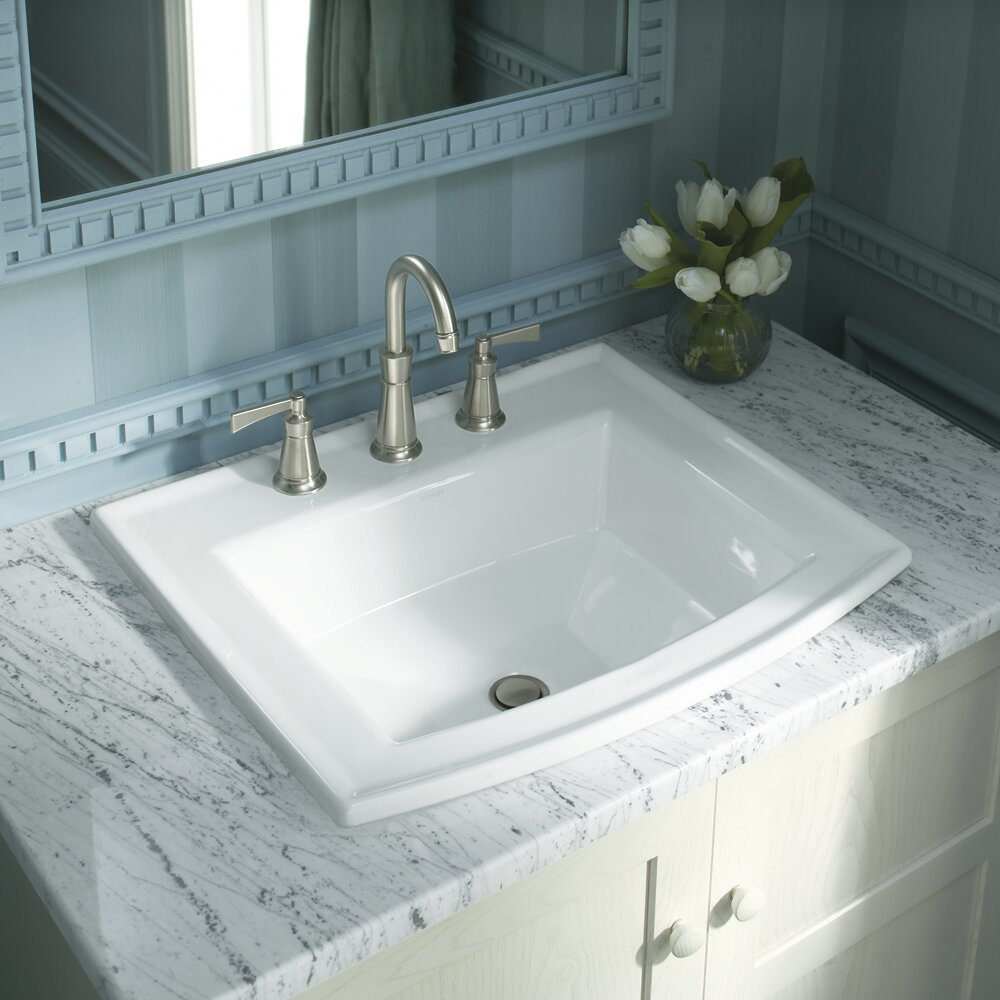 K 2356 8 0 4 1 Kohler Archer Vitreous China Rectangular Drop In Bathroom Sink With Overflow Reviews Wayfair