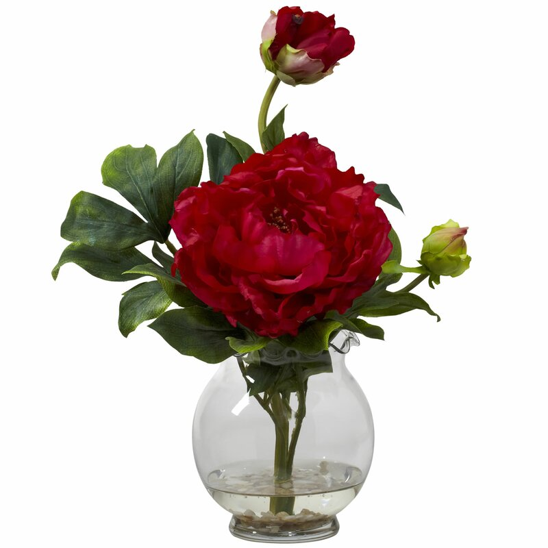 Nearly natural peony with fluted vase silk flower in red reviews peony with fluted vase silk flower in red mightylinksfo