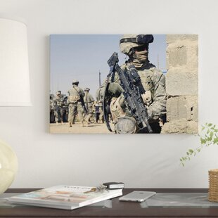 601a2019e334  US Army Soldier Armed With A MK-48 Light Machine Gun  By Stocktrek Images  Graphic Art Print on Wrapped Canvas