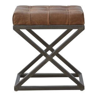 Crisman Industrial Cross Base D-Button Genuine Leather Upholstered Dining Chair