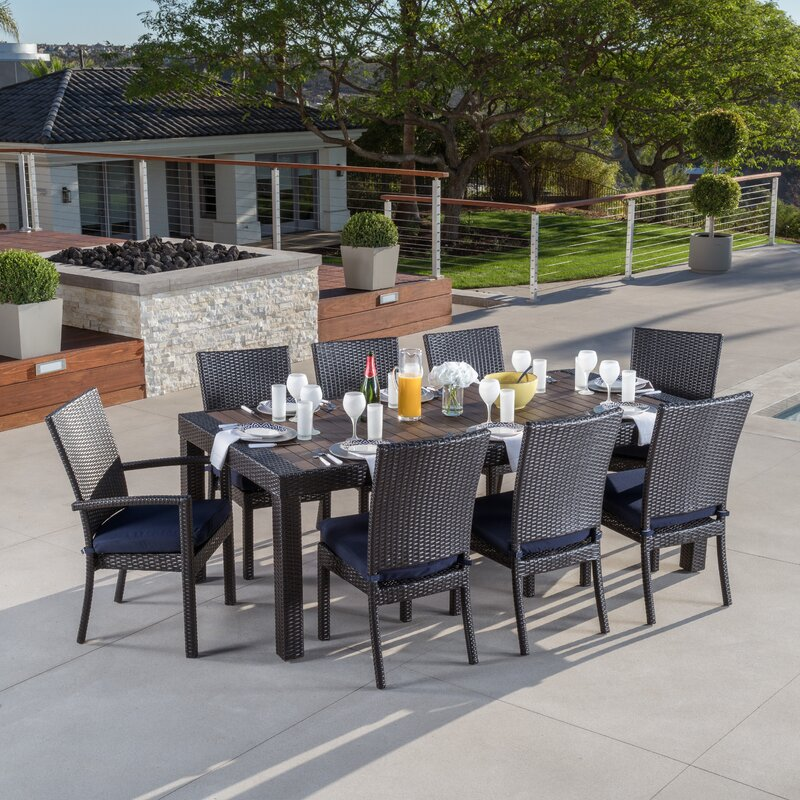 9 Piece Laurie Patio Dining Set In Espresso