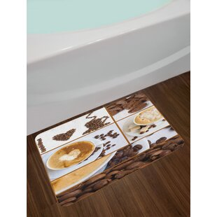 Coffee Themed Brown Kitchen Bath Rug