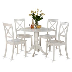 Abrahamic 5 Piece Linen White Dining Set by Andover Mills