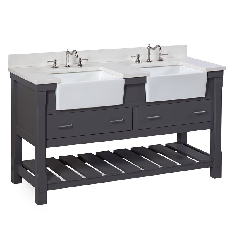 Double Bathroom Sink | Kbc Charlotte 60 Double Bathroom Vanity Set Reviews Wayfair