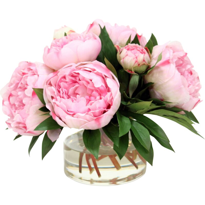 Distinctive Designs Large Peonies And Medium With Buds In Glass Vase
