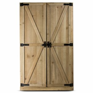 SP Shuttered Wall Mirror with Rustic Wooden Frame