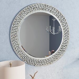 Round Gray Decorative Wall Mirror