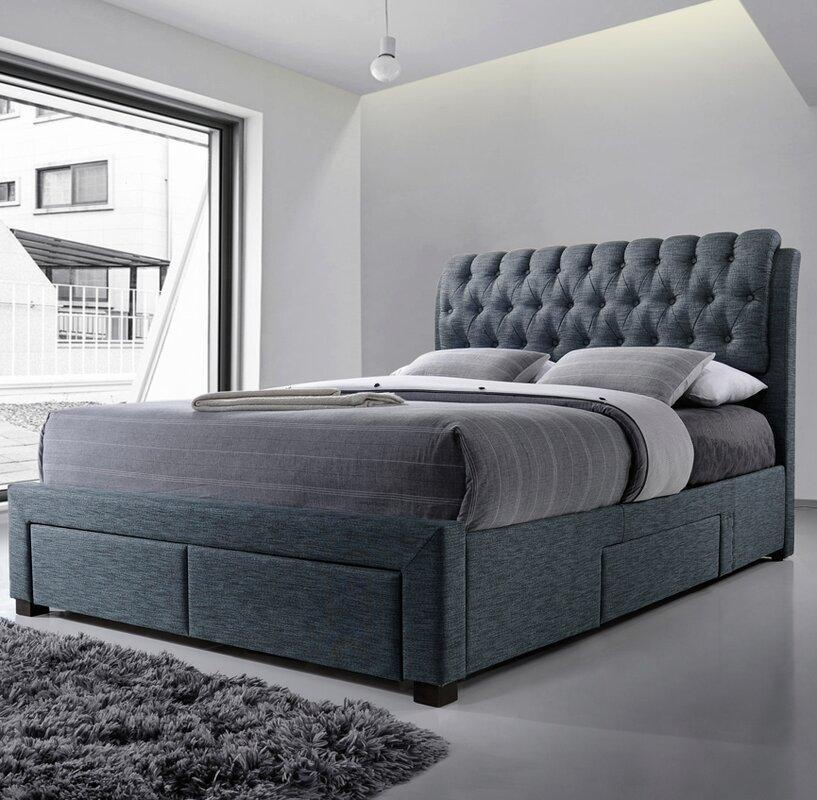 Home loft concept belerda upholstered storage bed frame for Concept beds