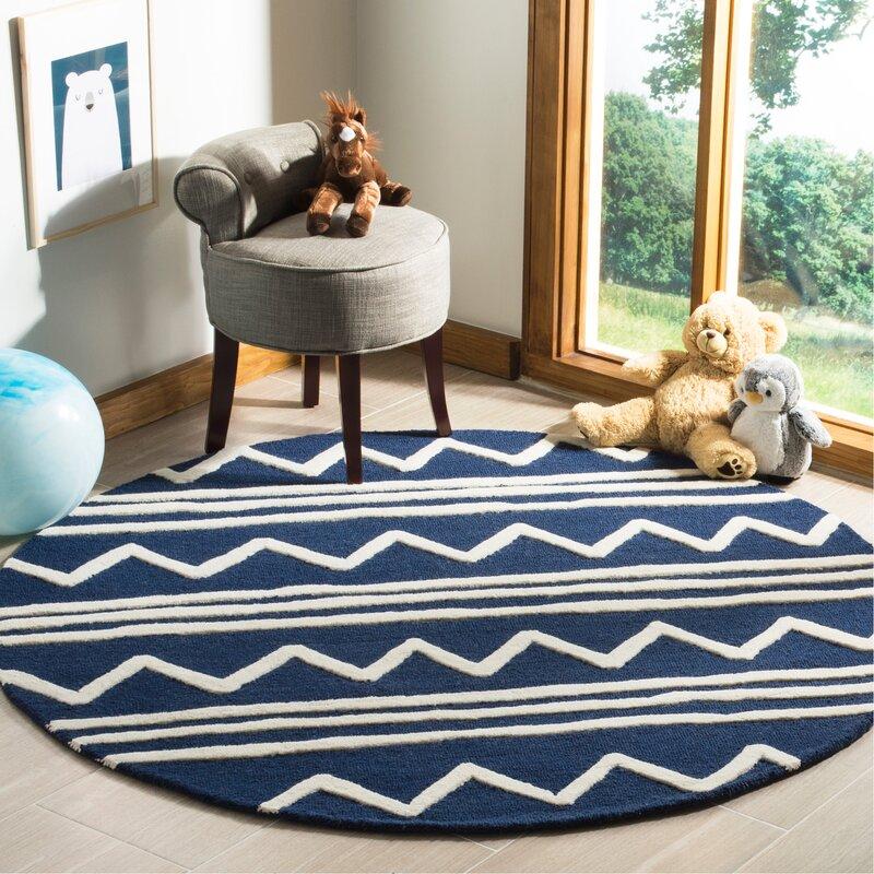 Mack & Milo Brenner Hand-Tufted Wool Navy Zigzag Area Rug