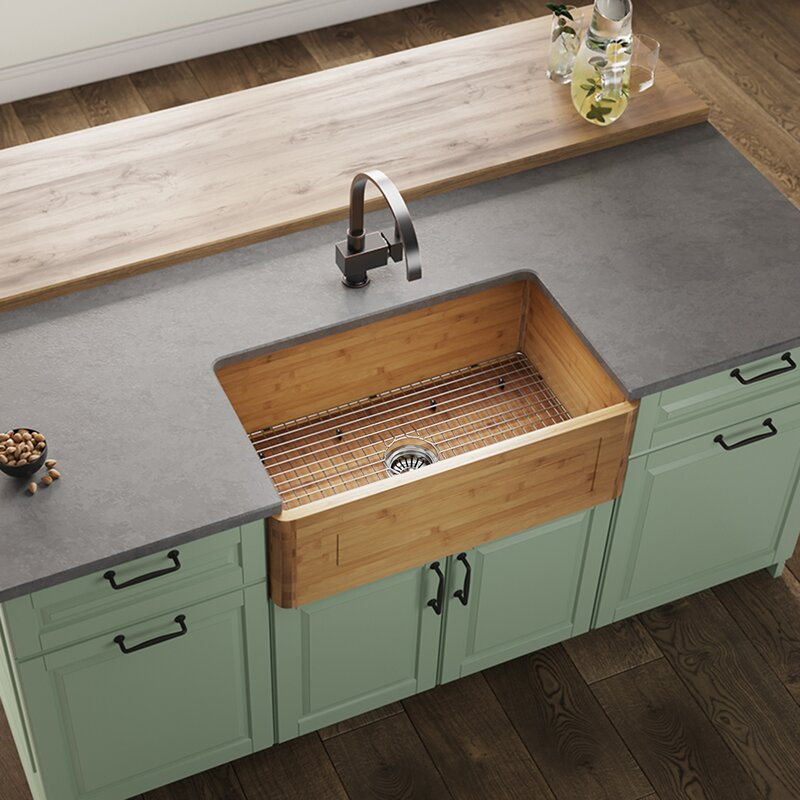 Bamboo 30 X 18 Farmhouseapron Kitchen Sink With Strainer