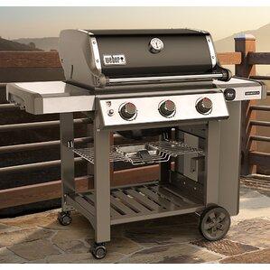 genesis ii e310 3burner propane gas grill with side shelves