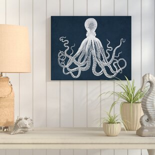 Octopus Graphic Art On Wrapped Canvas