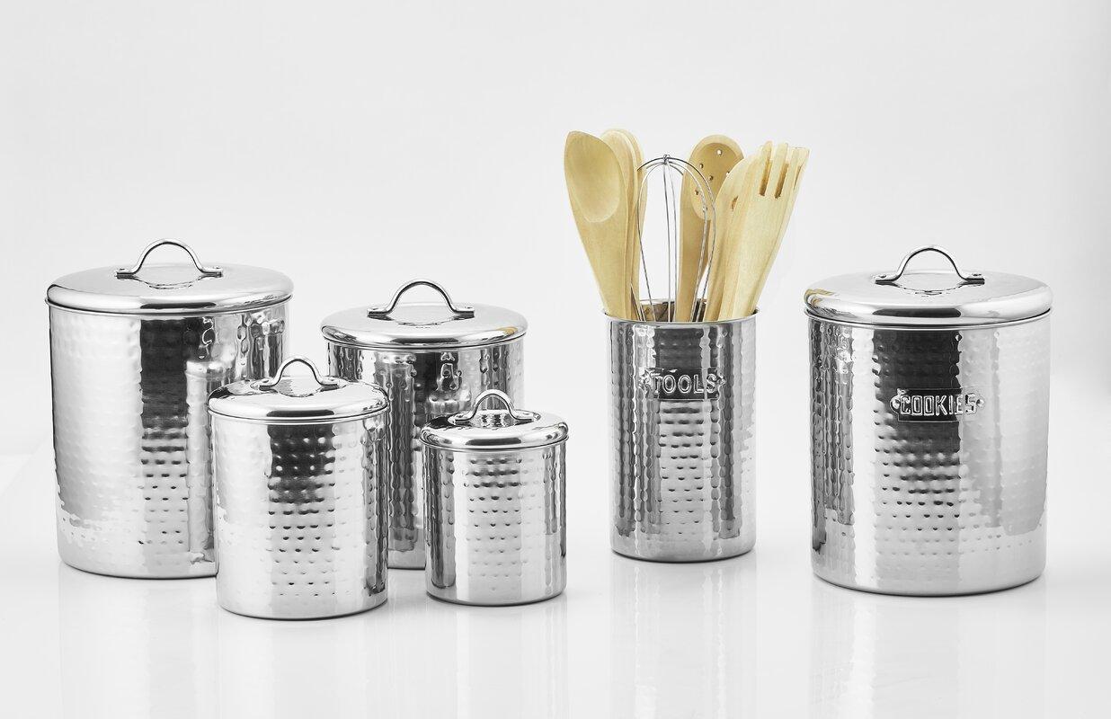 old dutch hammered 4 piece kitchen canister set u0026 reviews wayfair