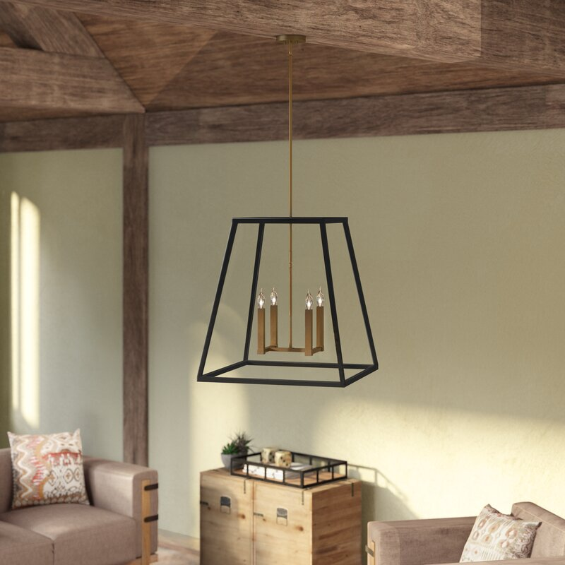 Foundry Select Burley Oak 4-Light Square/Rectangle Pendant