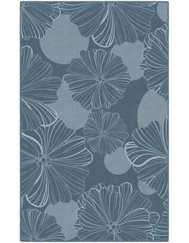 Highland Dunes Bonnie Oversized Flowers Gray/Blue Area Rug, Size: Rectangle 76 x 10