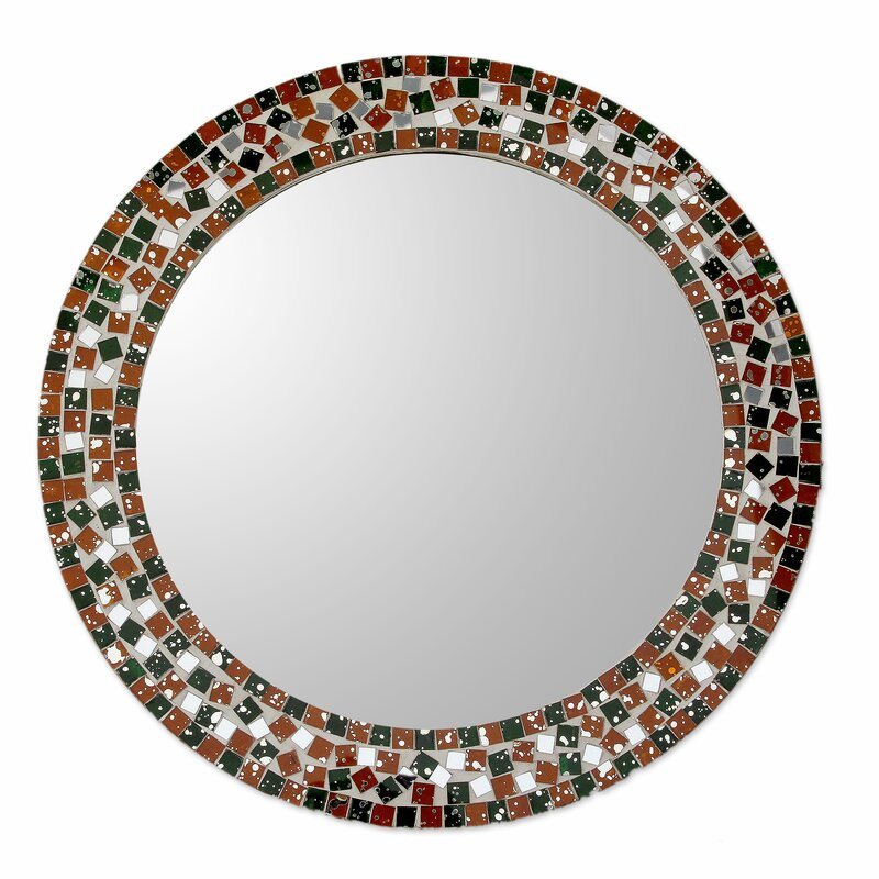Round Wall Mirrors novica forest mosaic artisan crafted round wall mirror with glass