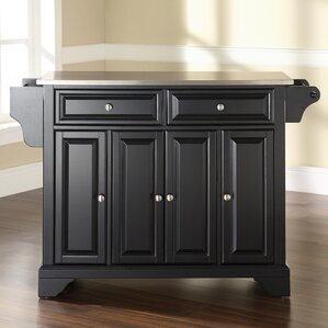 Abbate Kitchen Island With Stainless Steel Top