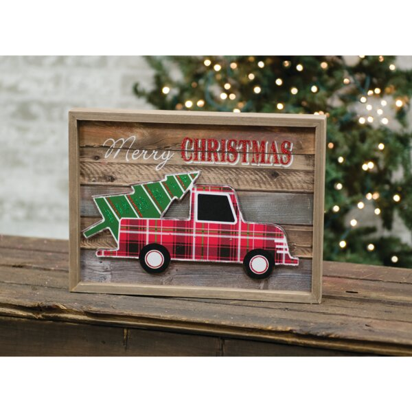 the holiday aisle christmas truck framed sign wall dcor wayfair