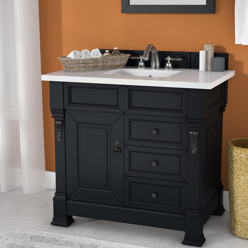 Bedrock 36 Single Antique Black Bathroom Vanity Set With Drawers