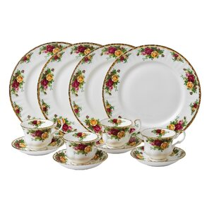Old Country Roses Bone China 12 Piece Dinnerware Set, Service for 4
