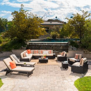 James 15 Piece Rattan Sectional Set With Cushions