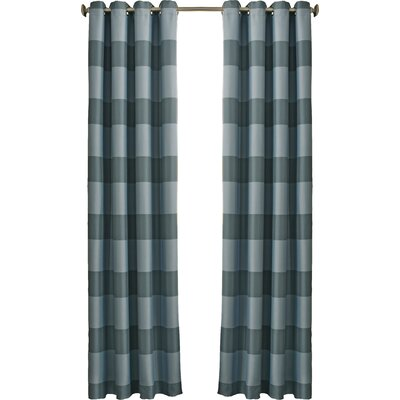 Beautyrest Gaultier Striped Max Blackout Grommet Single Curtain Panel Color: Spa, Size per Panel: 52 W x 95 L