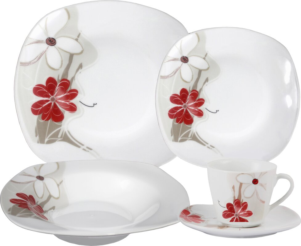 Porcelain 20 Piece Square Dinnerware Set Service for 4  sc 1 st  Wayfair & Lorren Home Trends Porcelain 20 Piece Square Dinnerware Set Service ...