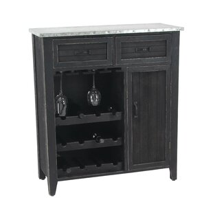 Ramon Traditional 12 Bottle Wood And Iron Bar Cabinet With Suspended Glass  Rack