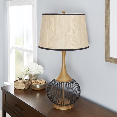 Mercer41 south molton ceramic 26 table lamp wayfair rishi 23 table lamp with metal wire cage and faux wood shade keyboard keysfo Choice Image