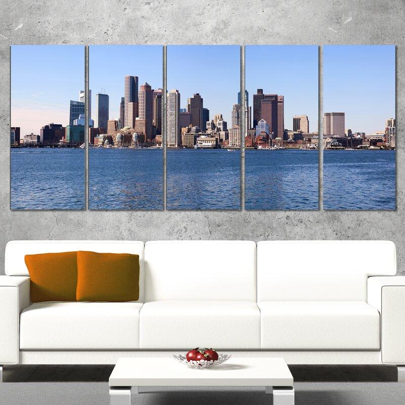 Boston Skyline Panorama 5 Piece Wall Art On Wrapped Canvas Set