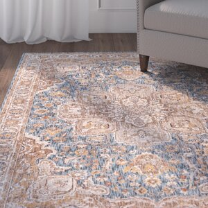 Matteson Traditional Navy/Orange Area Rug