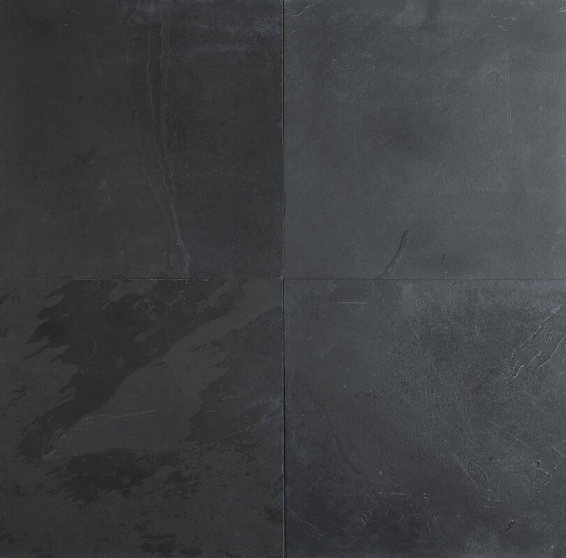 Montauk 12'' x 12'' Slate Field Tile in Black/Gray