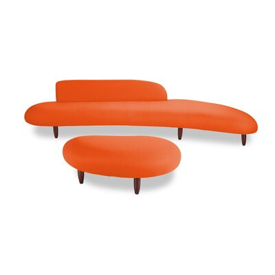 Brayden Studio Potvin Mid Century Modern Sofa and Ottoman Set Upholstery Color: Orange