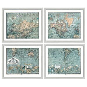 Map 4 Piece Framed Graphic Art Set